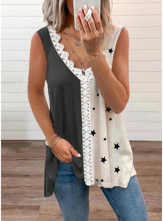 Color Block Lace Print V-Neck Sleeveless Tank Tops
