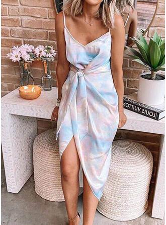 Tie Dye Bez rękawów Pokrowiec Asymetryczna Casual Sukienki