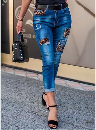 Leopardo Juan Recortada Casual Sexy Tallas Grande Bolsillo rasgados Splice Color Vaqueros