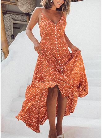 Nadrukowana Bez rękawów W kształcie litery A Asymetryczna Casual/Wakacyjna Sukienki