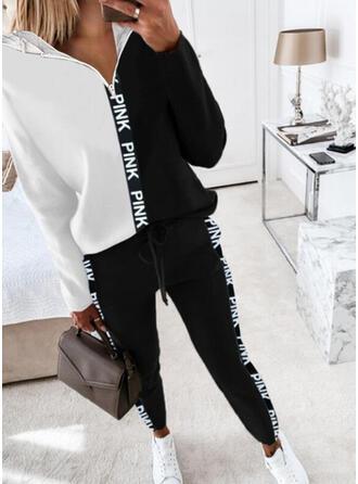 Brev Print Color Block Fritids Extra stor storlek sweatshirts & Tvådelade kläder uppsättning