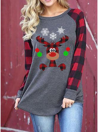 Print Plaid Ronde Hals Lange Mouwen Casual Kerstmis T-shirts