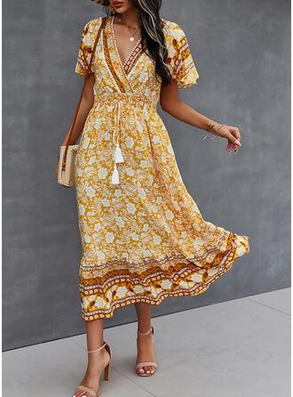 Imprimeu/Floral Mâneci Scurte Bir Çizgi Patenci gündelik Midi Elbiseler