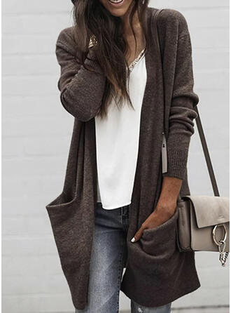 Solid Pocket Casual Long Cardigan