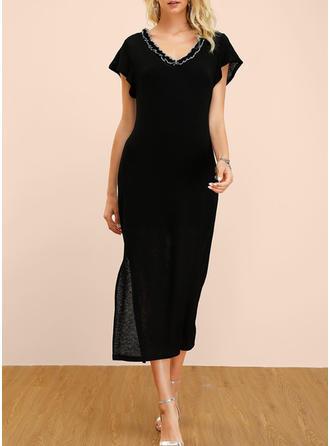 Couleur Unie Manches Courtes Fourreau Petites Robes Noires/Décontractée/Fête/Élégante Midi Robes