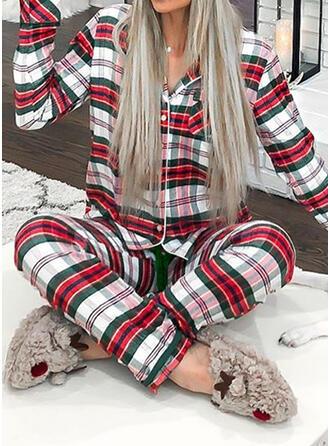 Полиэстер Длинные рукова рождество сетка Пижамный комплект