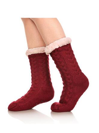 Culoare solida/croșetat Cald/Crăciun/Șosete echipaj/Antiderapant/Unisex Şosete