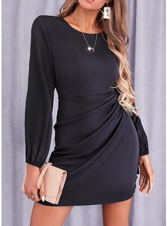 Solid Mâneci Lungi Manşon Deasupra Genunchiului Negre/gündelik Elbiseler