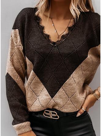 Bloque de Color Encaje Cuello en V Casuales Suéteres