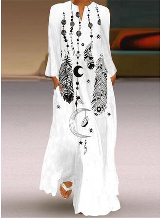 Распечатать Длинные рукова Прямые платья Повседневная Макси Платья