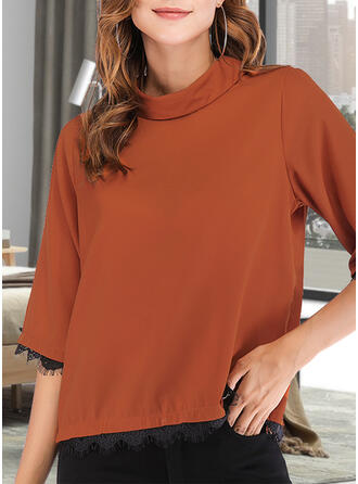 Solid Lace High Neck 3/4 Sleeves Casual Basic Blouses