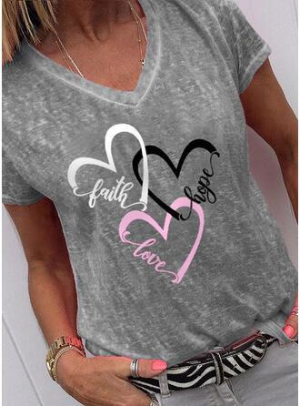 Figura Serce Nadruk Dekolt w kształcie litery V Krótkie rękawy T-shirty