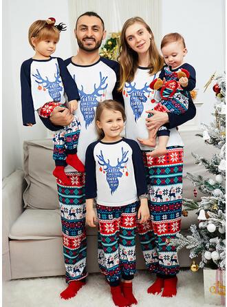 Ren Geyiği Literă Imprimeu Aile Eşleşen Noel Pijamaları