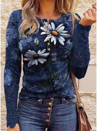 Floral Estampado Gola Redonda Manga Comprida Camisetas