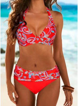 Распечатать недоуздок V шеи Большой размер Повседневная Bikinis купальников
