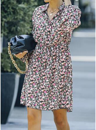 Imprimeu/Floral Mâneci Lungi Bir Çizgi Deasupra Genunchiului gündelik Patenci Elbiseler