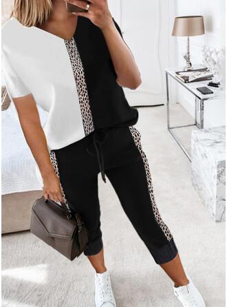 Leopard Color Block Fritids Extra stor storlek tee & Tvådelade kläder uppsättning