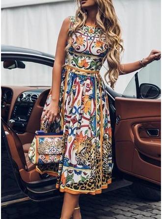 Estampado Sem mangas Evasê Casual/Elegante Midi Vestidos