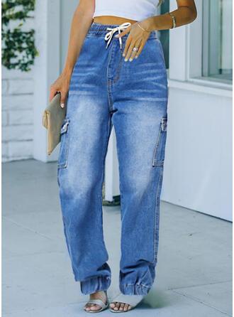 Solid Uzun gündelik Kot pantolon
