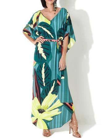 Floreale Stampa tropicale Scollatura a V Boho Copricostumi Costumi Da Bagno