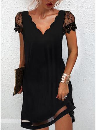 Solid Dantel Mâneci Scurte Shift Elbiseleri Deasupra Genunchiului Negre/Zarif Elbiseler
