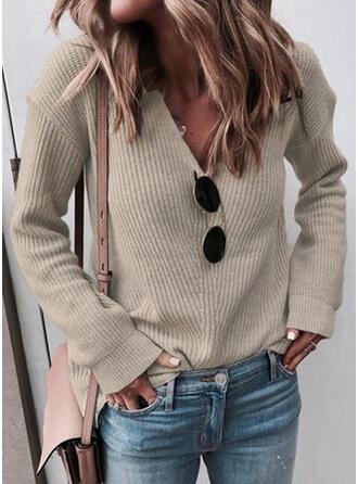 Sólido Malha Espessa Decote em V Casual Suéteres