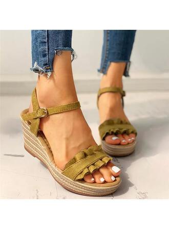 Pentru Femei PU Platforme Înalte Sandale Platformă Platforme Puţin decupat în faţă Tocuri cu Drapată Culoare solida pantofi