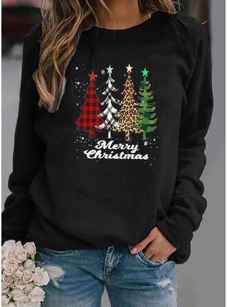 Grid Leopard Figur rund hals Lange ærmer Jule sweatshirt