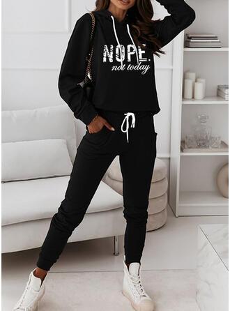 fickor Brev Print Fritids Extra stor storlek sweatshirts & Tvådelade kläder uppsättning