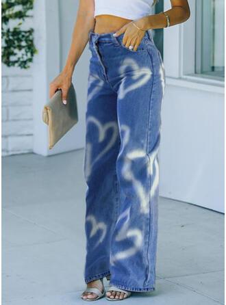 Imprimeu Kalp Uzun gündelik Pantolonlar