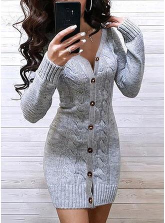 Sólido Punto De Cable Cuello en V Casuales Largo Ajustado Vestido de Suéter