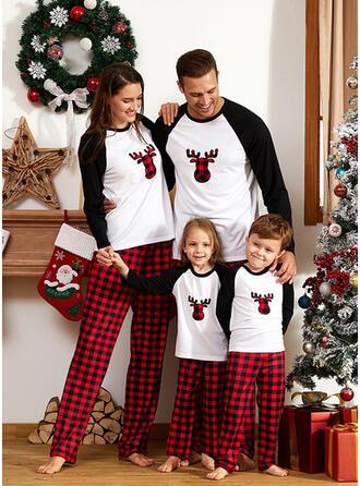 Цветной блок олень Плед Семейное соответствие Рождественская пижама