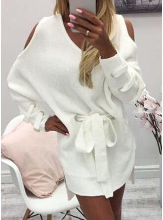 Solid Chunky knit Cold Shoulder Casual Long Sweater Dress