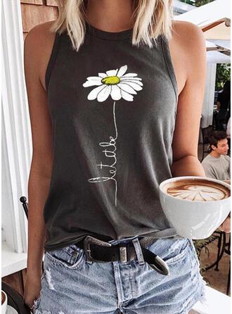 Figura Kwiatowy Nadruk Okrągły dekolt Bez Rękawów Koszulki bez rękawów