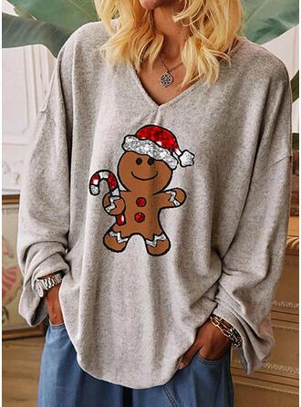 Impresión Lentejuelas Cuello en V Manga Larga Casual Navidad Camisetas