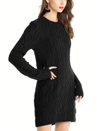 Solid Tricot Cablu Bucată tricotată Guler Rotund Rochie pulover