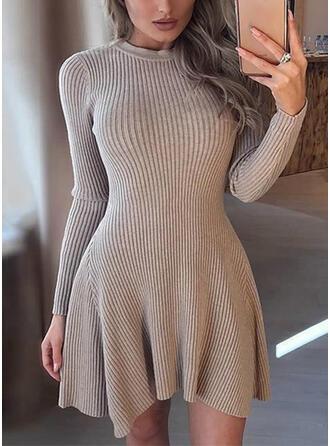 твердый Шею Повседневная Долго Свитер платье