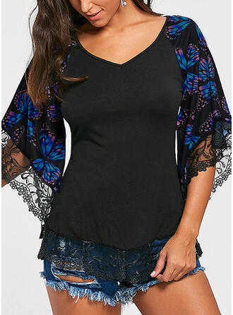 Animal Print Lace V-Neck 3/4 Sleeves Flare Sleeve Casual Elegant Plus Size Blouses