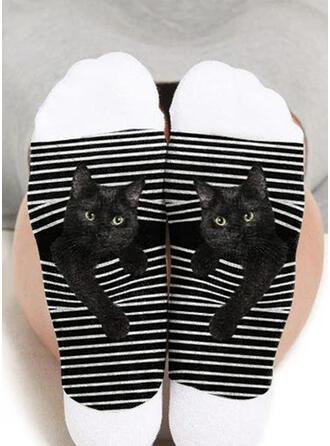 Animal/Trykk pustende/Crew sokker/Svart katt/Unisex Sokker