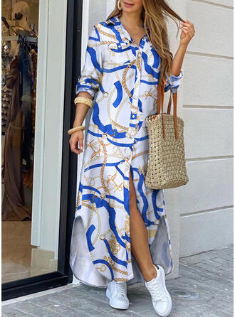 Plus Size Leopard Long Sleeves Shift Maxi Casual Vacation Dress