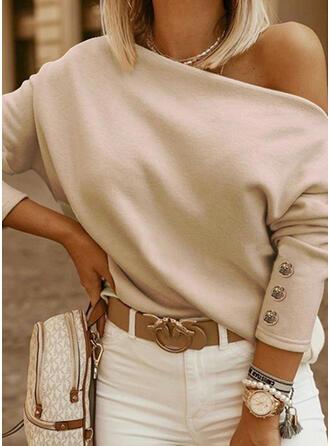 Solide One Shoulder Lange Mouwen Pailletten Overhemd