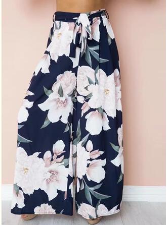Floral Print Long Casual Pants