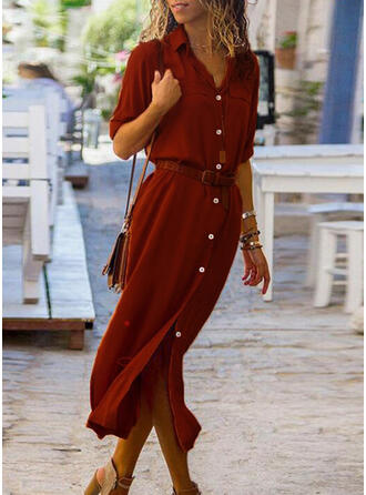 Jednolita Długie rękawy Pokrowiec Koszula Casual Midi Sukienki