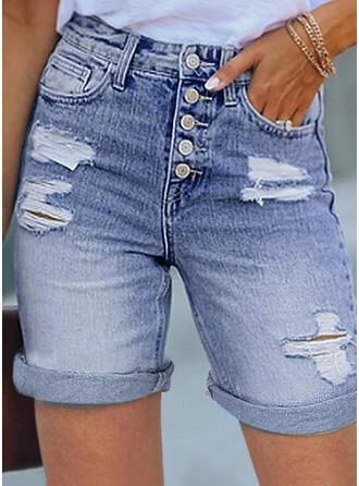 Sólido Juan Por encima de la rodilla Casual Tallas Grande rasgados Botones Pantalones Pantalones cortos Vaqueros