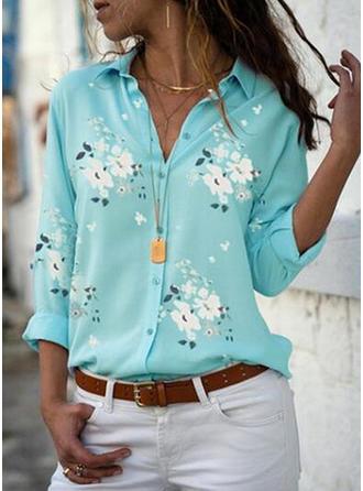 отворот Длинные рукова Кнопка вверх Повседневная элегантный Рубашка Блузки
