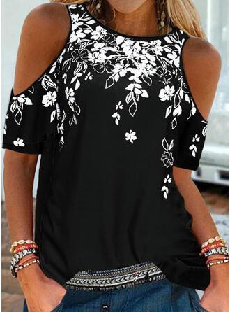 Floral Imprimeu Soğuk omuz Mâneci Scurte Tişörtler