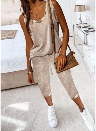 Solid Casual Plus Size Camisole & Two-Piece Outfits Set