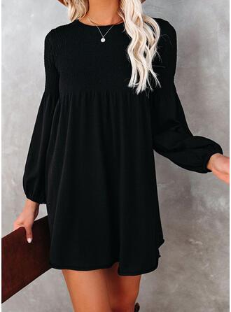 Sólido Manga Larga Manga de linterna Vestidos sueltos Sobre la Rodilla Pequeños Negros/Elegante Vestidos