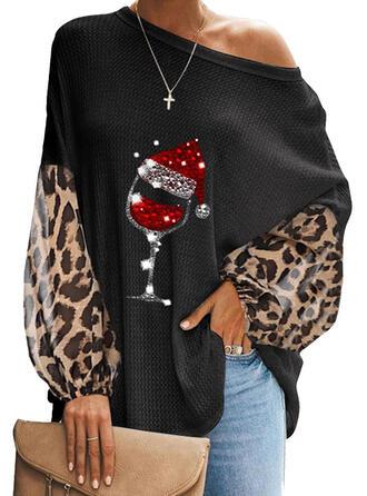 Одно плечо Фонарь рукав Длинные рукова Повседневная рождество Блузы