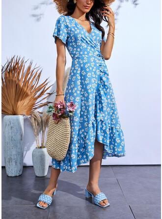 Imprimeu/Floral Mâneci Scurte Bir Çizgi Wrap/Patenci gündelik Midi Elbiseler